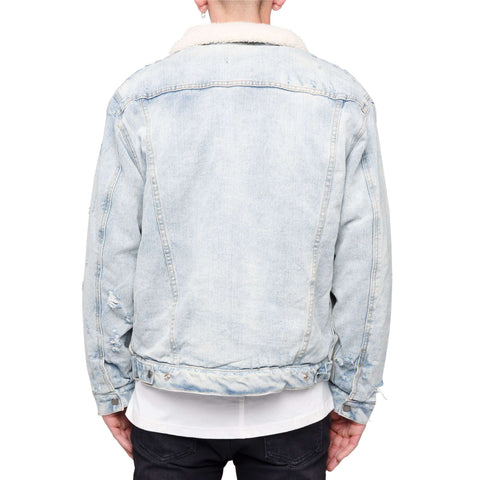 SHERPA DENIM JACKET - BLUE