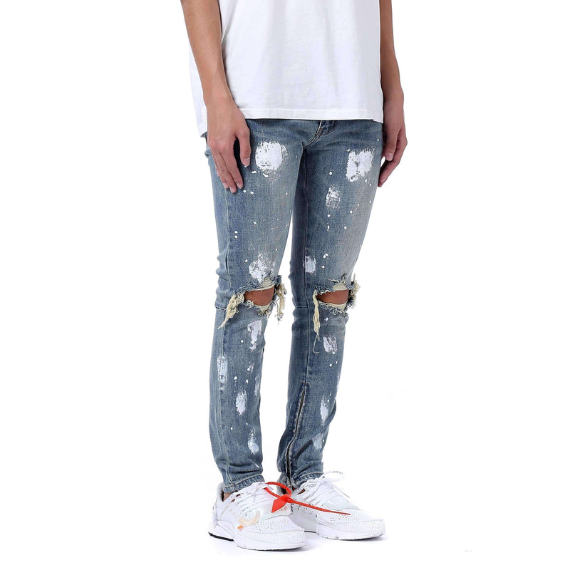 SPLATTER DISTRESSED DENIM - BLUE