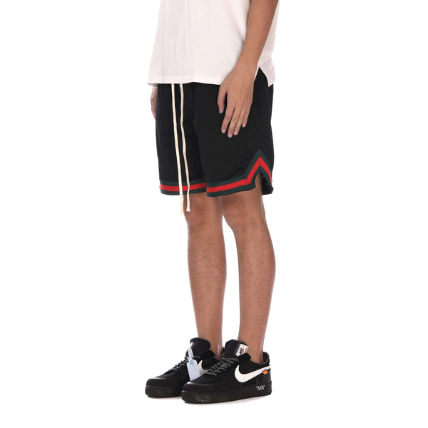 SPORTS MESH SHORTS - BLACK / RED