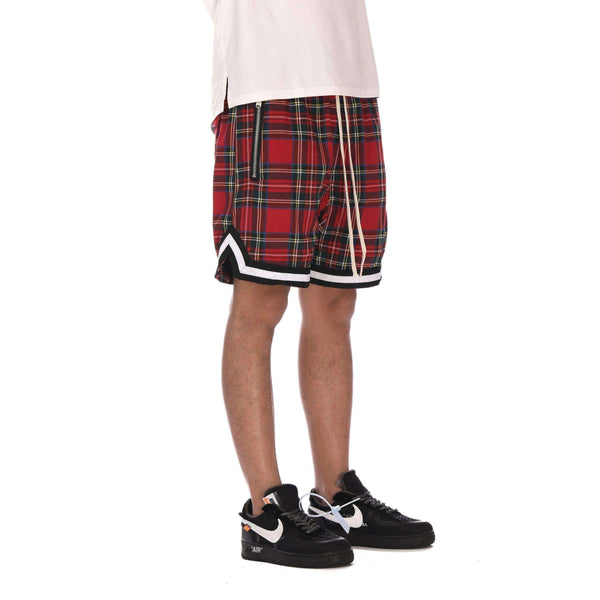 SPORTS PLAID SHORTS - RED