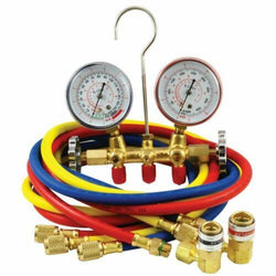 MOUNTAIN 8205 R134A Brass Manifold Gauge Set with Couplers (Closeout)