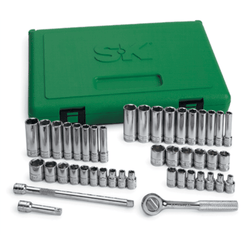 "S & K 44 Pc 1/4"" Dr 6 Pt SAE/Metric Standard and Deep Complete Socket Set 91844"