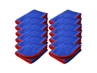 SM Arnold 12 PK 16x24 Large Super Plush Microfiber Towels Blue/Red 380GSM 28-862