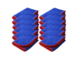 SM Arnold 28-862 12PK 16x24 Large Super Plush Microfiber Towels Blue/Red 380GSM