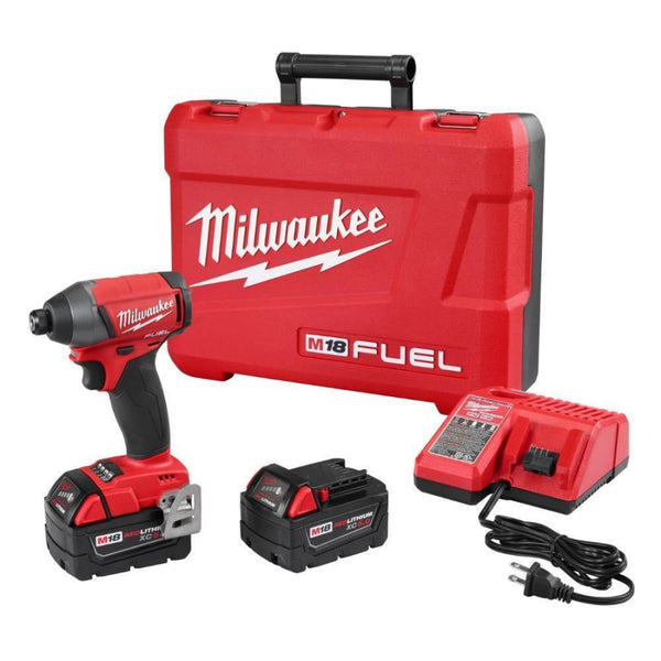 "Milwaukee 2753-22 M18 FUEL 1/4"" Hex Impact Driver 2 x 5.0 Batteries Kit"