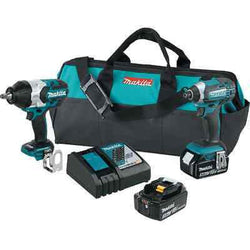 Makita 18 Volt 2 Pc Impact Wrench & Driver 2 Battery (3.0Ah) Combo Kit XT270