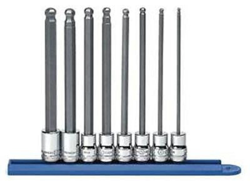 "GearWrench 8 Pc 3/8"" Dr. Metric Long Ball Hex Bit Socket Set 80573"