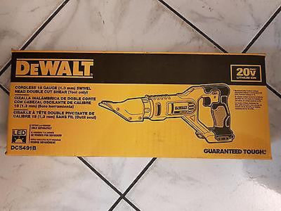 DeWalt 20V MAX Li-Ion Cordless 18-Gauge Swivel Head Shears (Bare Tool) DCS491B