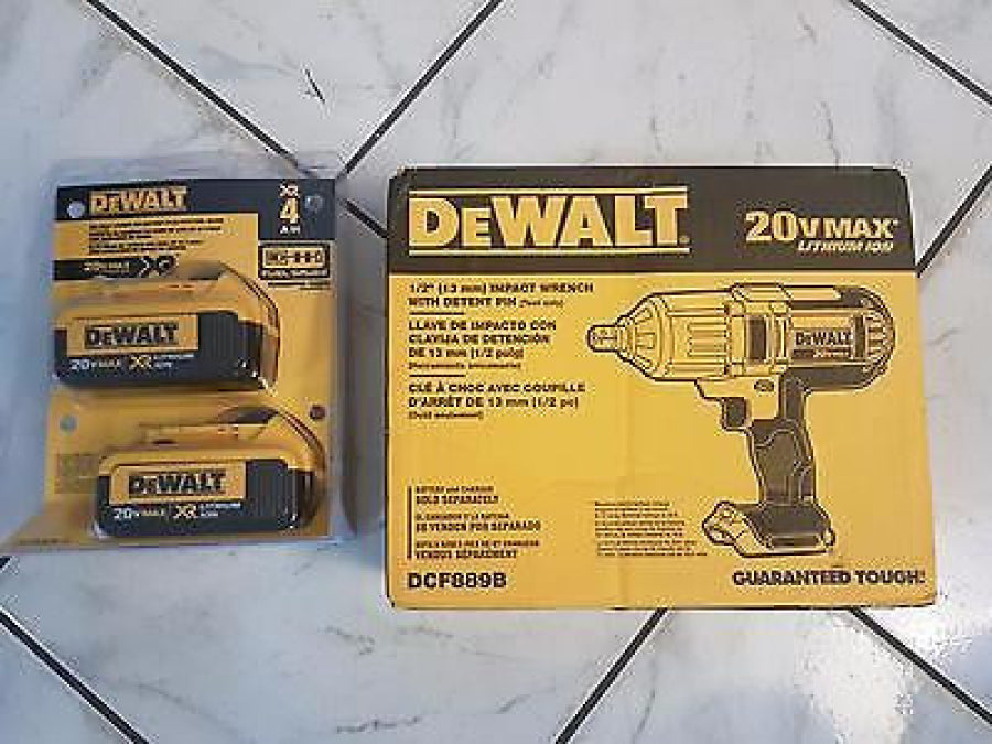 "DeWalt 20V MAX 1/2"" Impact Wrench DCF889B WITH 2 Batteries DCB204"