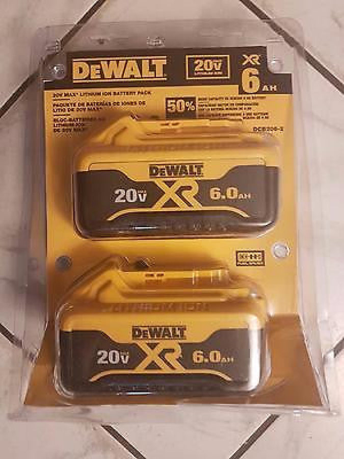 New DeWalt 20-Volt MAX Lithium-Ion 6.0 Amp Hour Battery 2 Pack DCB606-2
