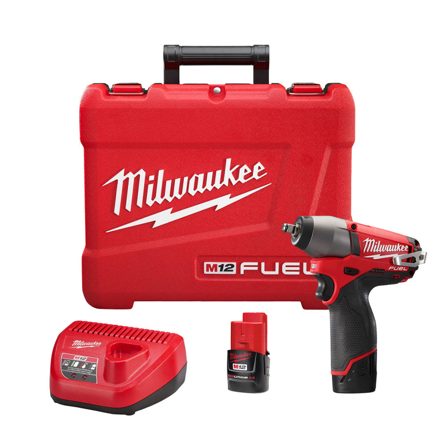 "Milwaukee 2454-22 M12 FUEL 3/8"" Impact Wrench w/(2) 2Ah Batteries, Charger & Case"