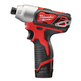 "MIlwaukee 2462-22 M12 1/4"" Impact Driver Kit W/(2) 1.5Ah Batteries, Charger & Case"