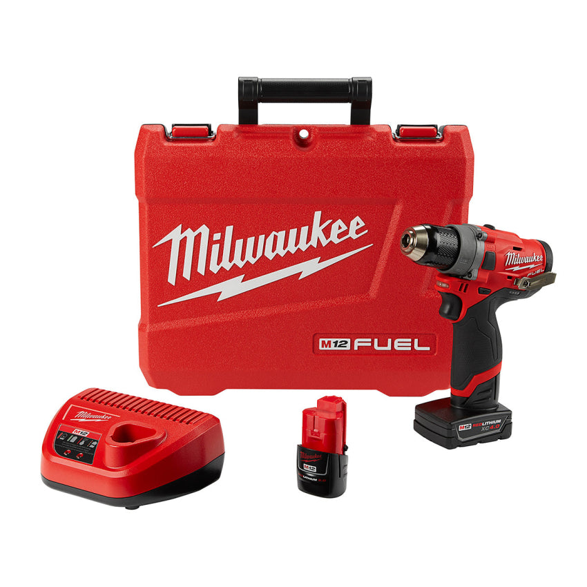 "Milwaukee 2503-22 M12 FUEL 1/2"" Drill/Driver w/4Ah, 2Ah Batteries Charger & Case"