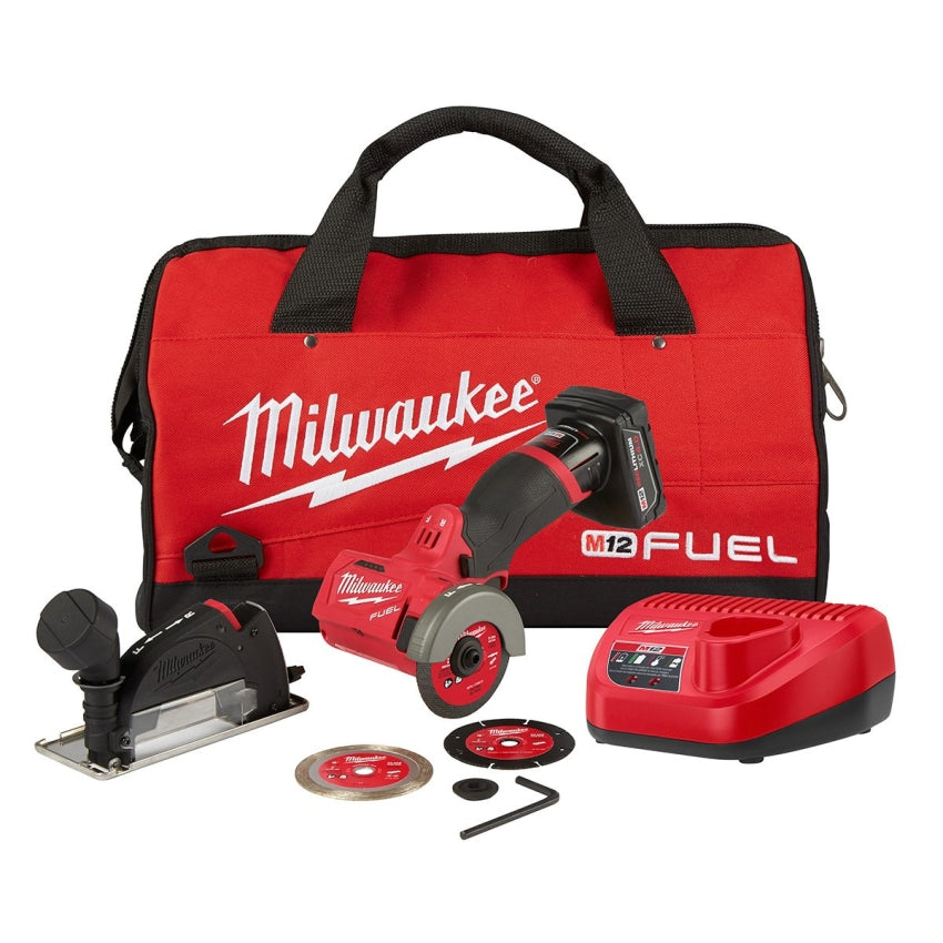 "Milwaukee  2522-21XC M12 FUEL 3"" Compact Cut Off Tool w/(1) 4Ah Battery, Charger & Contractor Bag"