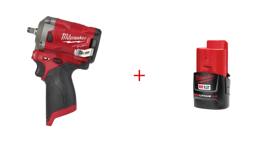 "Milwaukee 2554-20 M12 FUEL Stubby 3/8"" Impact Wrench with 2.0 Battery"
