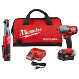 "Milwaukee 2591-22 M18/M12 FUEL Auto Kit 3/8"" Ratchet & 1/2"" Mid Torque Impact Wrench"