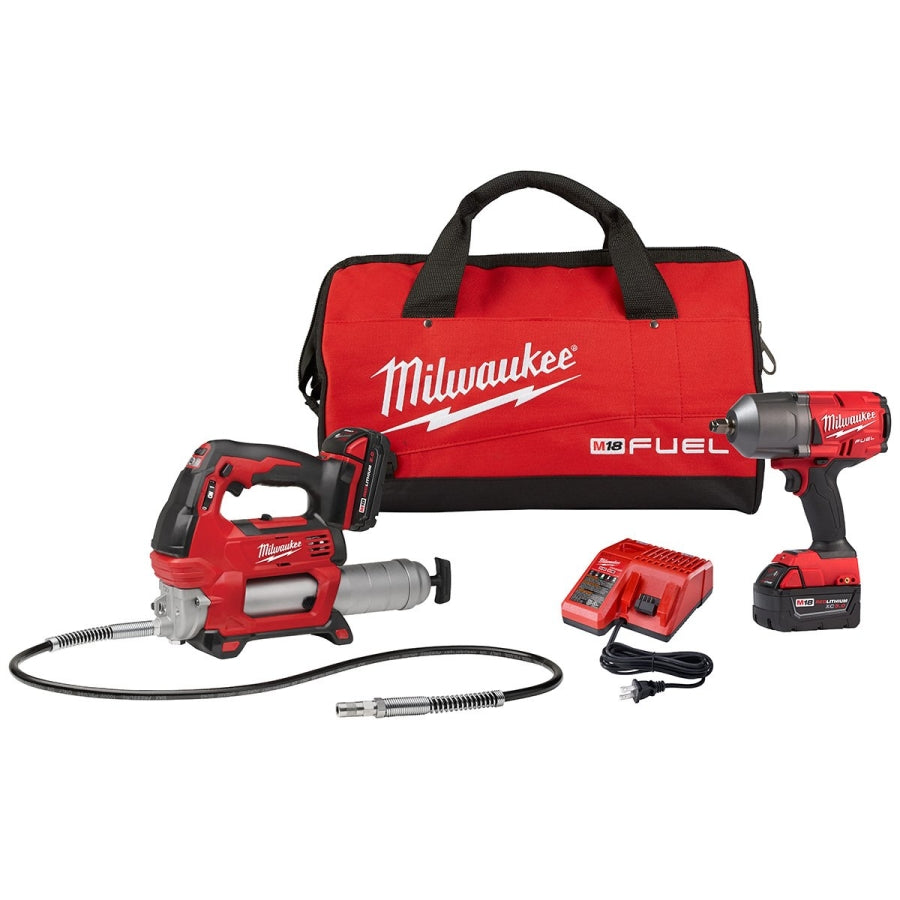 "Milwaukee 2767-22GG M18 1/2"" Impact Wrench w/Friction ring & M18 2646-Grease Gun"