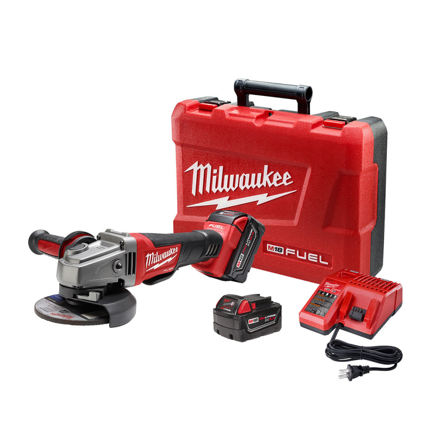 "Milwaukee 2780-22 M18 FUEL 4.5""/5"" Grinder w/Paddle Switch Kit w/ (2)5Ah Batteries"