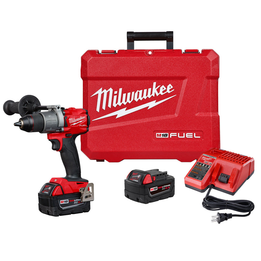 "Milwaukee 2804-22 M18 FUEL 1/2"" Hammer Drill/Driver Kit w/2 5ah Batteries & Case"