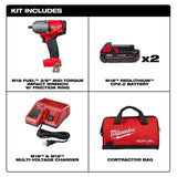 "Milwaukee 2852-22CT M18 3/8"" Impact Wrench Friction Ring Kit w/ (2) 2Ah Battery"