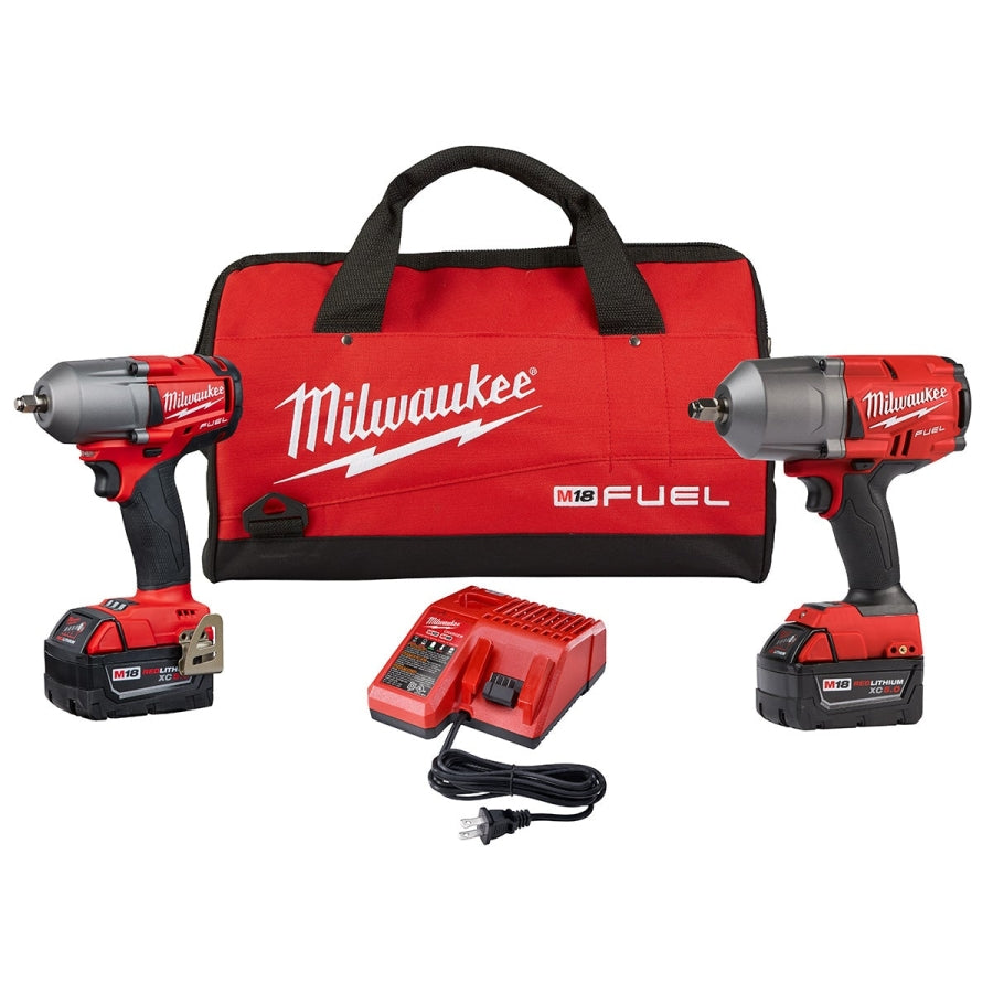 """Milwaukee M18  Cordless 1//2/"""" and 3//8/"""" Drive Impact Wrench Combo Kit 2 Batteries"""