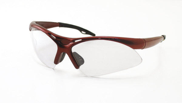 SAS Safety 540-0000 Diamondback Eye Wear w/Polybag  Clear Lens/Red Frame