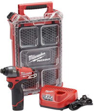 "Milwaukee 2453-21P M12 1/4"" Impact Driver Packout Kit w/(1) 2ah Battery & Charge"