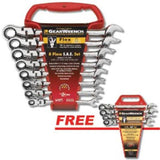 GearWrench 8 Pc SAE Flex Head Combination Ratcheting 9701 Set FREE SAE Set 9703
