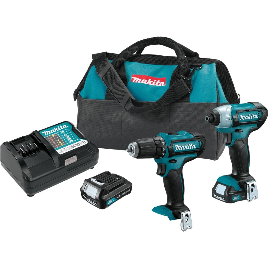 "Makita 12V MAX CXT 3/8"" Drill and Impact Driver Kit w/(2) 1.5AH Batteris Charger and Bag CT226"