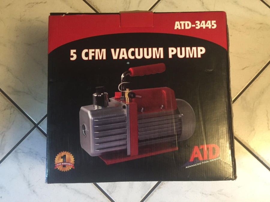 ATD Tools 1/3 HP 1 Stage 250 Ml Oil Capacity 1720 RMP 5 CFM Vacuum Pump 3445