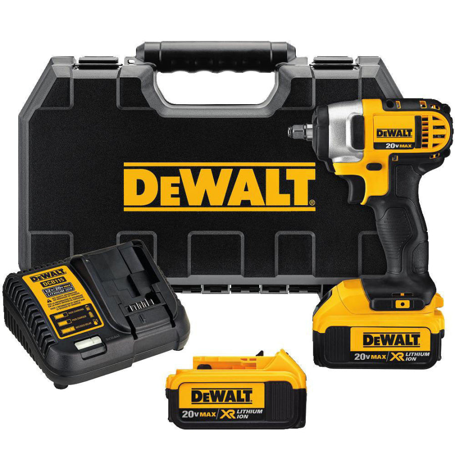 "DeWalt 20V MAX Li Ion 3/8"" Impact Wrench Kit 2 x 4.0 Batts & Charger DCF883M2"