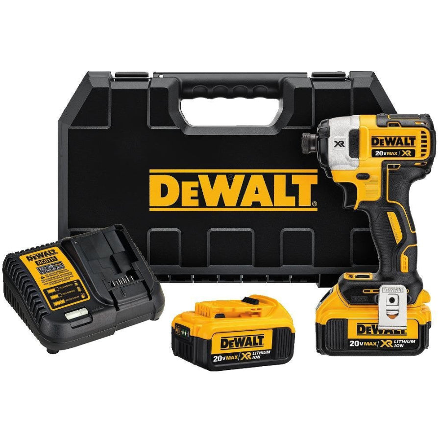 "DEWALT 20V MAX XR Li-Ion 4.0 Ah Brushless 0.25"" 3-Speed Impact Driver Kit DCF887M2"