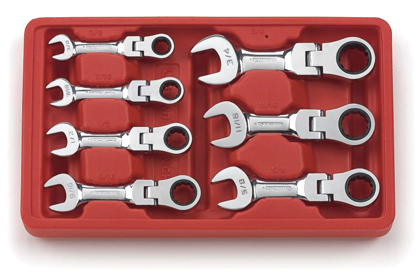 GearWrench 7 Pc. Stubby Flex Combination Ratcheting Wrench Set - SAE 9570