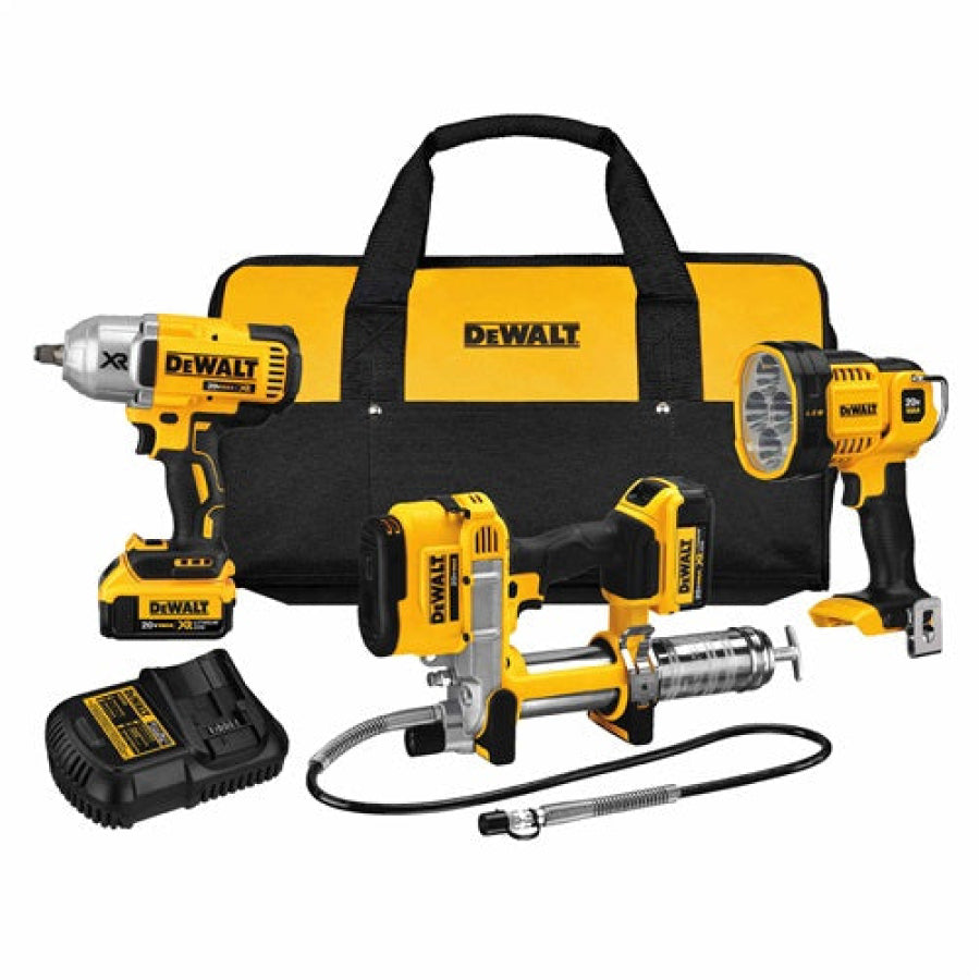 "DeWalt 20V 3 Tool Kit DCK397HM2 includes ½"" Impact DCF899HB & DCGG571 Grease Gun"