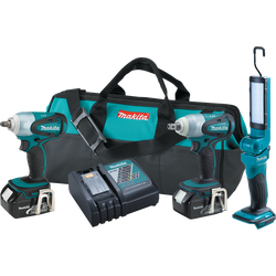 "Makita 3 Pc 18V LXT Cordless 1/2"" & 3/8"" Dr Impact Wrench & Flashlight LXT321"