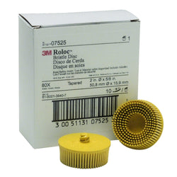 "3M 7525 2"" Scotch-Brite Roloc Bristle Discs 80 Grit Medium Yellow"
