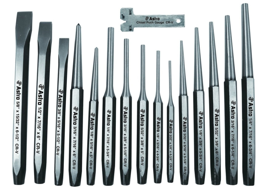 Astro Pneumatic 1600 16 Pc Punch and Chisel Set