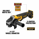 "Dewalt DCG413B 20V MAX XR 4.5"" Paddle Switch Angle Gringer w Kickback Brake"