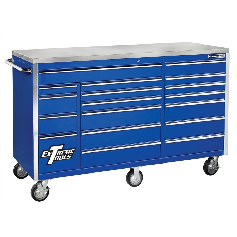 Extreme Tools EX7218RCBL 72 in. 18-Drawer Triple Bank Roller Cabinet - Blue