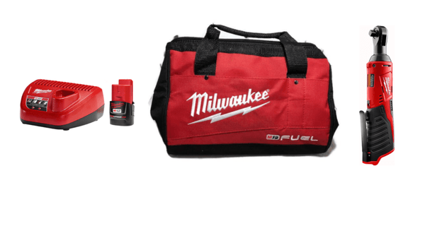 "Milwaukee 2457-20 M12 Cordless 3/8"" Ratchet w/48-59-2420 M12 2.0 Starter Kit & M12 FUEL Contractor Bag"