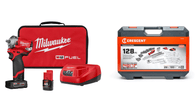"Milwaukee 2554-22 Stubby 3/8"" Impact Wrench Kit & CTK128CMP2 Mechanics Tool Set"