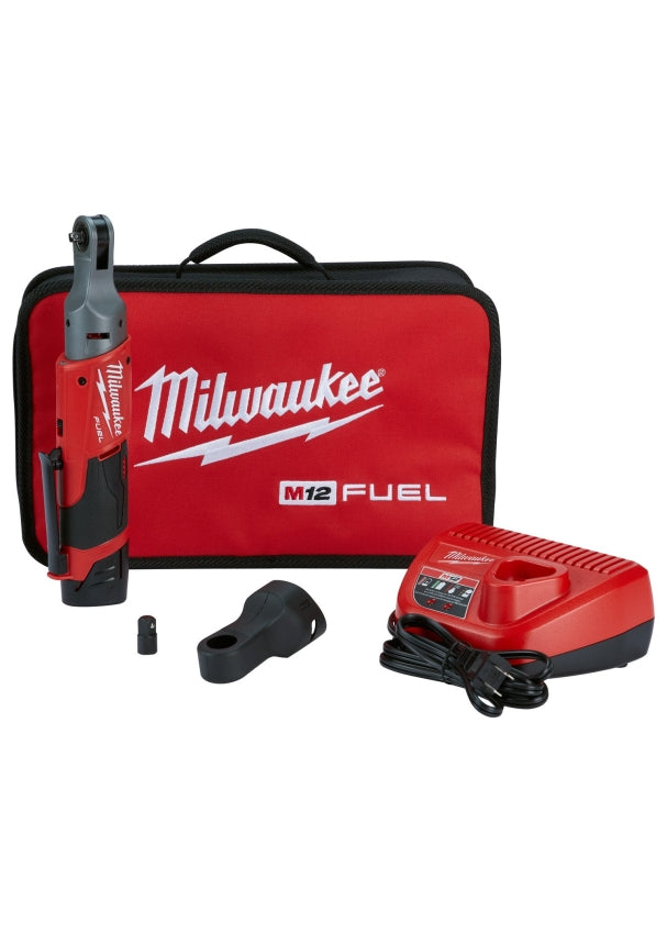 "Milwaukee 2556-21 M12™ FUEL™ 1/4"" Cordless Ratchet Auto w/ (1) Battery Kit"