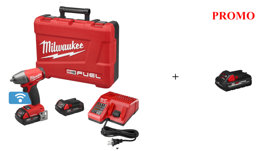 "Milwaukee 2758-22CT M18 FUEL 3/8"" Compact Impact Wrench Kit Promo w/ 3ah Battery"