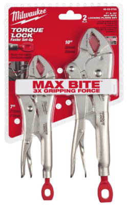 "Milwaukee 48-22-3702 2 Piece 7"" & 10"" Curved Jaw Locking Pliers with Maxbite"