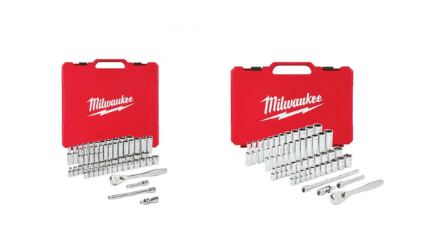 "Milwaukee 48-22-9004 50 Pc 1/4"" & 48-22-9008 3/8"" 56 Pc SAE/Metric Socket Sets"