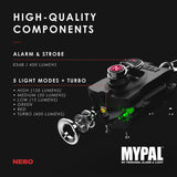 Nebo 6909 MYPAL Black Rechargeable Keychain Alarm Flashlight