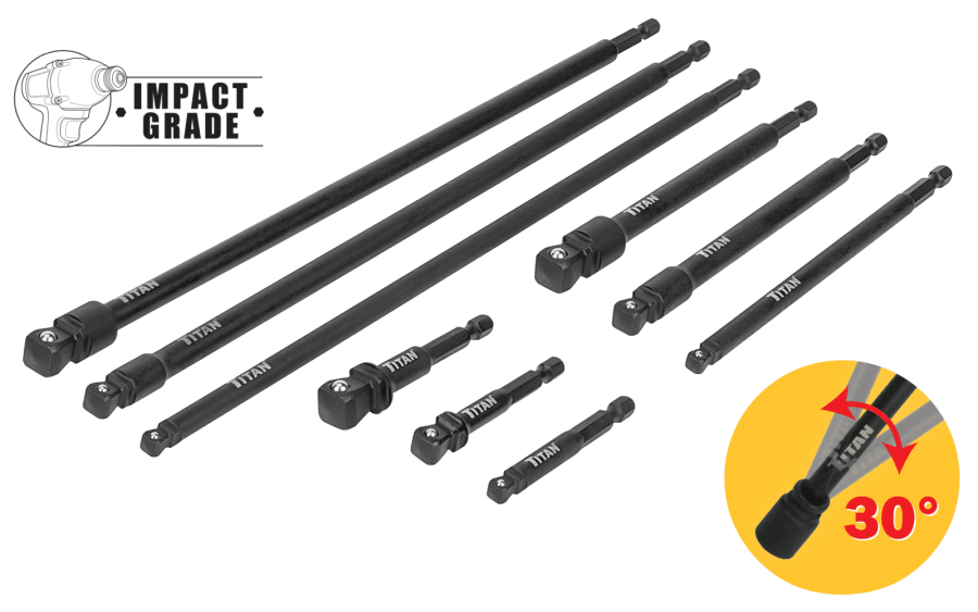 Titan 49089 9 Piece Impact Wobble Socket Adapter Set