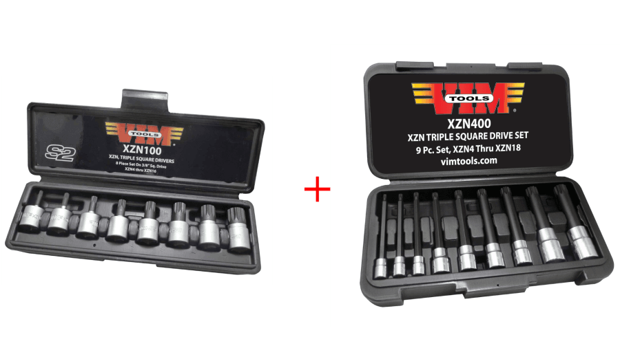 VIM XZN100 Triple Square Bit Socket Set & XZN400 9 Triple Square Spline Bit Set
