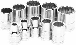 "Performance Tool W38500 10 Piece 3/8"" Drive 12 Point SAE Socket Set"
