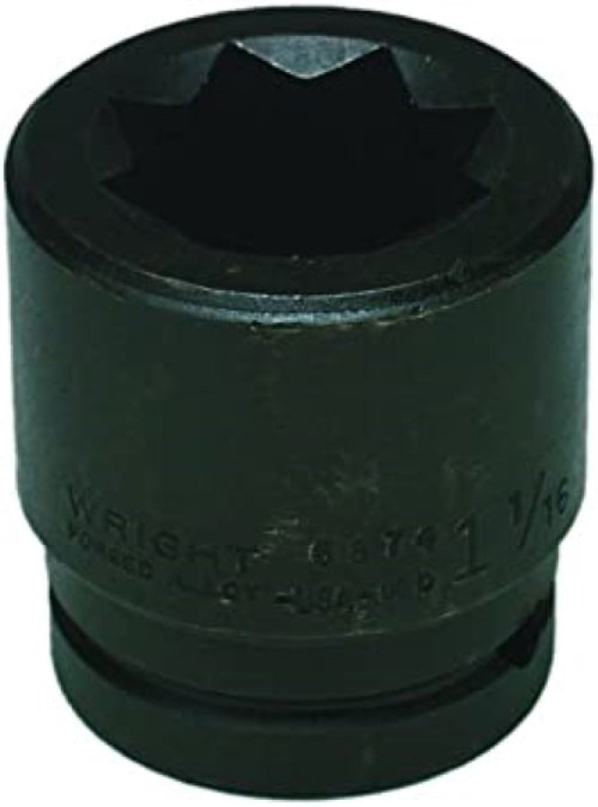 "Wright Tool 6872 3/4"" Drive 1"" Double Square Impact Socket 8-Point"